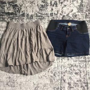 Maternity shorts + bonus grey maternity skirt